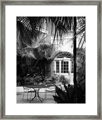 New Orleans Courtyard In Black And White Framed Print