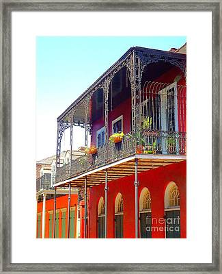 New Orleans French Quarter Architecture 2 Framed Print by Saundra Myles