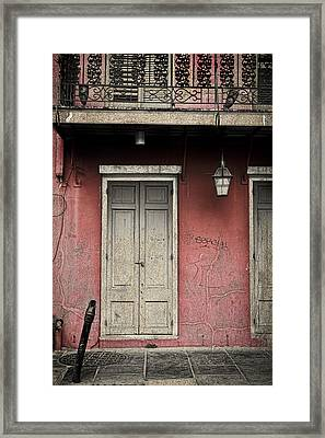 New Orleans French Quarter Balcony And Doorway Framed Print by Ray Devlin