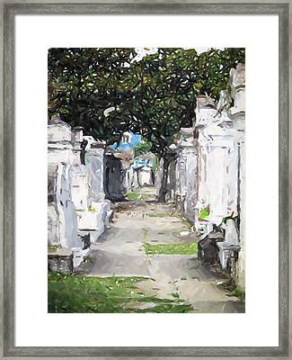 New Orleans French Quarter Cemetary Louisiana Artwork Framed Print by Olde Time  Mercantile