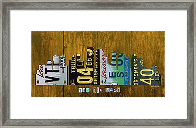New Orleans Louisiana City Skyline Vintage License Plate Art On Wood Framed Print by Design Turnpike