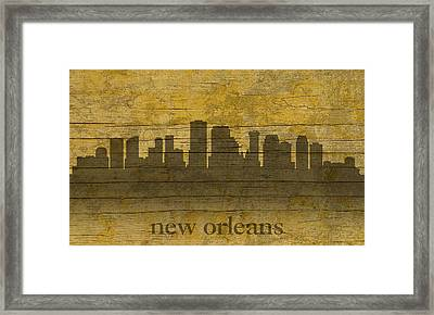 New Orleans Louisiana Skyline Silhouette Distressed On Worn Peeling Wood Framed Print