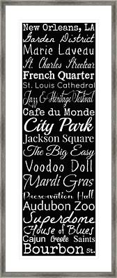 New Orleans Louisiana Typography Framed Print by Susan Bordelon