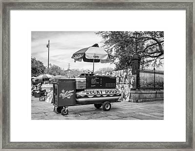 New Orleans - Lucky Dogs Bw Framed Print