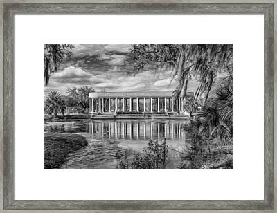 New Orleans Peristyle - Paint Bw Framed Print