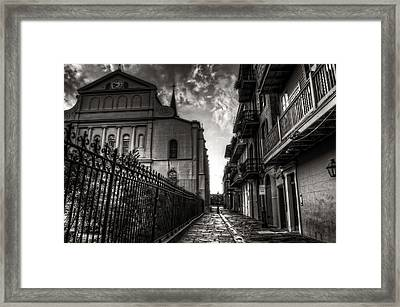 New Orleans' Pirates Alley In Black And White Framed Print by Greg and Chrystal Mimbs