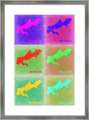 New Orleans Pop Art Map 3 Framed Print by Naxart Studio