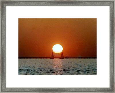 Framed Print featuring the photograph New Orleans Sailing Sun On Lake Pontchartrain by Michael Hoard
