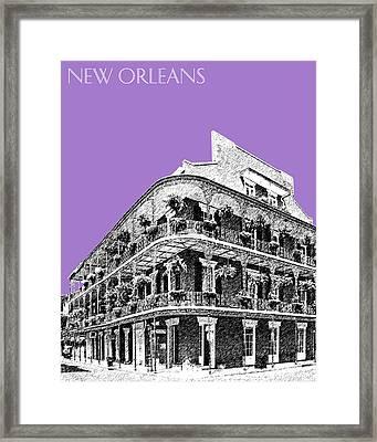 New Orleans Skyline French Quarter - Violet  Framed Print by DB Artist