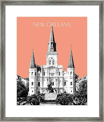 New Orleans Skyline Jackson Square - Salmon Framed Print by DB Artist