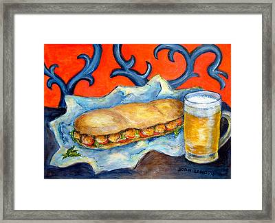 New Orleans Poboy Framed Print by Joan Landry