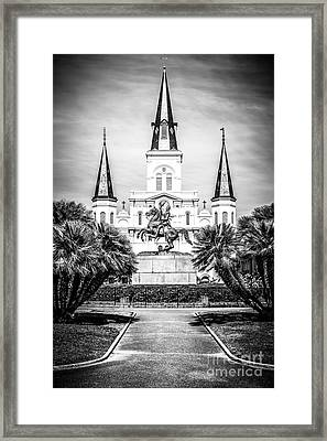 New Orleans St. Louis Cathedral Black And White Picture Framed Print