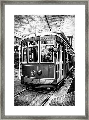 New Orleans Streetcar Black And White Picture Framed Print by Paul Velgos
