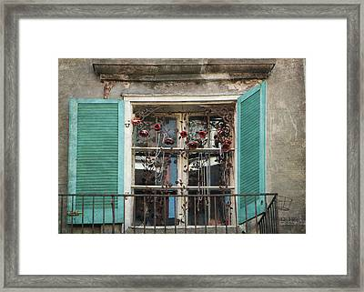 New Orleans Window Framed Print by Lorella  Schoales
