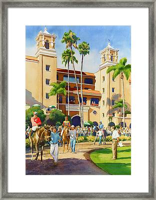 New Paddock At Del Mar Framed Print by Mary Helmreich