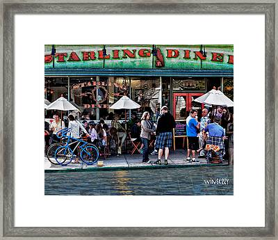 People Are Flooding To The Starling Diner Framed Print by Bob Winberry