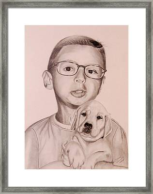 Framed Print featuring the drawing New Puppy by Sharon Schultz