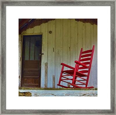 New Red Rocker - Old Porch Framed Print by Bob Sample