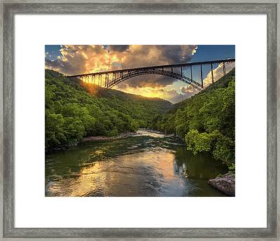 New River Evening Glow Framed Print