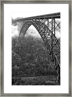 New River Gorge Bridge Black And White Framed Print by Thomas R Fletcher