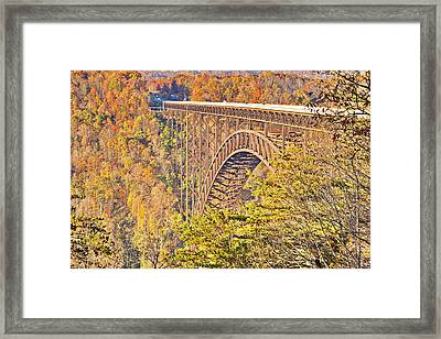 New River Gorge Single-span Arch Bridge In Autumn. Framed Print