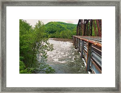 New River Rapids Flow Under The Bridge At Thurmond Framed Print by Paulette B Wright