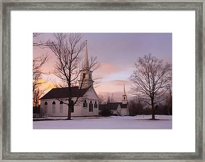 New Salem Town Common Winter Sunset Framed Print by John Burk