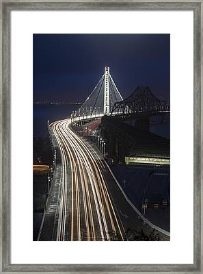 New San Francisco Oakland Bay Bridge Vertical Framed Print by Adam Romanowicz