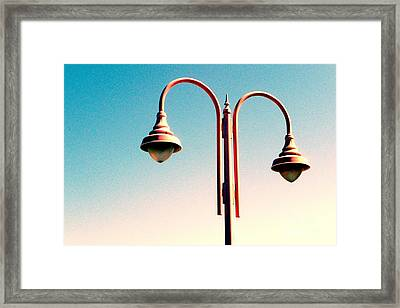 Framed Print featuring the digital art Beach Lamp Post by Valerie Reeves