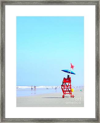 Framed Print featuring the digital art New Smyrna Lifeguard by Valerie Reeves