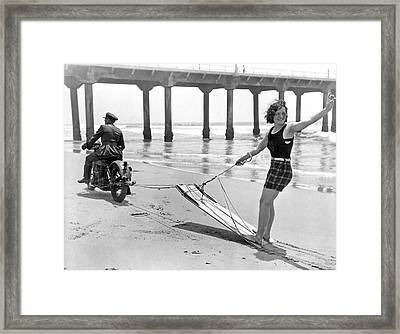New Sport Of Motor Surfing Framed Print by Underwood Archives
