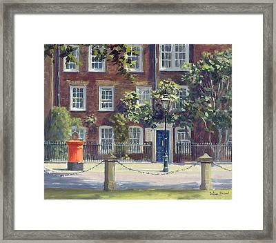New Square, Lincolns Inn Oil On Canvas Framed Print by Julian Barrow