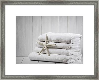 New White Towels Framed Print by Amanda Elwell