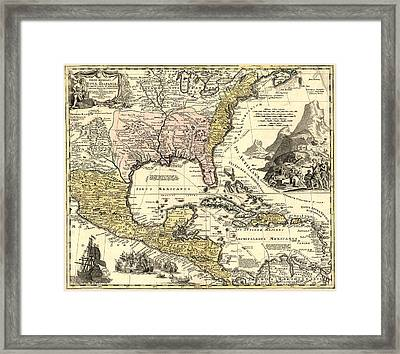New World Map Framed Print by Gary Grayson
