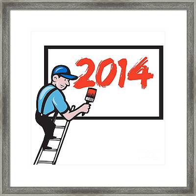 New Year 2014 Painter Painting Billboard Framed Print