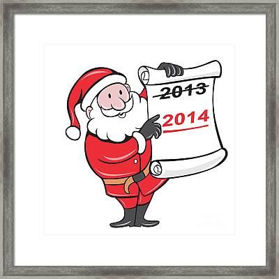 New Year 2014 Santa Claus Scroll Sign Framed Print by Aloysius Patrimonio