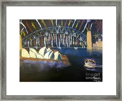Framed Print featuring the painting New Year Eve On Sydney Harbour by Pamela  Meredith
