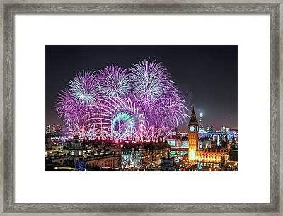 New Year Fireworks Framed Print by Stewart Marsden