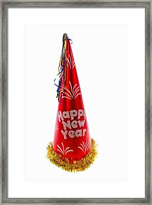 Happy New Year Party Hat Framed Print