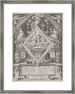 New Year Postcard From The Haarlem Chamber Of Rhetoric Framed Print by Jacob Matham