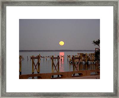 New Years Eve Blue Moon On The Bay Framed Print