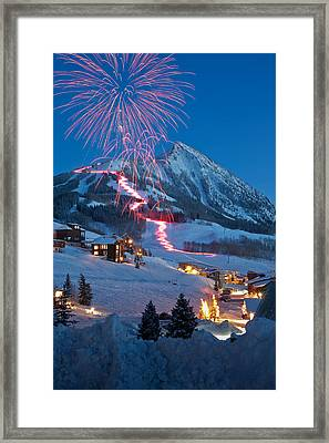 New Years Eve Fireworks And Torchlight Parade Framed Print by Dusty Demerson