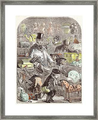New Years Gifts The Toyshop Jackson Children 1860 Framed Print