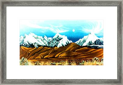 New Years Moonrise Qver Cojata Peru Bolivian Frontier Framed Print