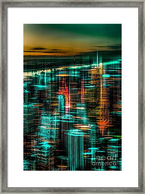New York - The Night Awakes - Green Framed Print by Hannes Cmarits