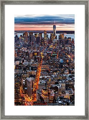 New York Aerial Cityscape Framed Print by Mihai Andritoiu