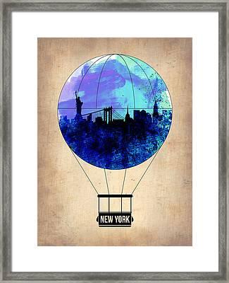 New York Air Balloon 2 Framed Print by Naxart Studio
