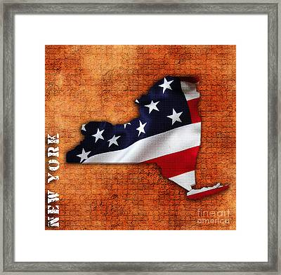 New York American Flag State Map Framed Print