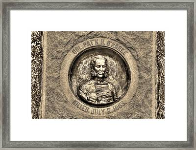 New York At Gettysburg - 140th Ny Volunteer Infantry Little Round Top Colonel Patrick O' Rorke Framed Print by Michael Mazaika