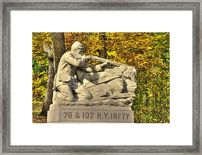 New York At Gettysburg - 78th Cameron Highlanders - 102nd Van Buren Light Ny Vol Infantry Culps Hill Framed Print